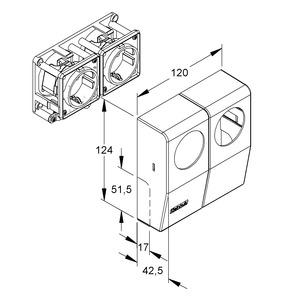 886.6.0, CENTRIC-Doppelschutzkontaktsteckdose, 125x120x43 mm, Kunststoff ASA, RAL 9001, cremeweiß, RAL 9005, tiefschwarz