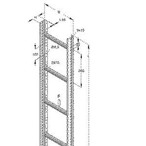 STL 60.403/6 E3, Steigetrasse, 60x400x6000 mm, Sprossenabstand 300 mm, 1 kN, t=1,5 mm, Edelstahl, Werkstoff-Nr.: 1.4301, 1.4303