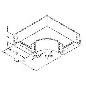 RES 110.200 F, Bogen 90° für KR, 110x202 mm, mit ungelochten Seitenholmen, Stahl, feuerverzinkt DIN EN ISO 1461, inkl. Zubehör