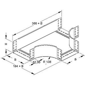RTS 110.400 F, T-Stück für KR, 110x402 mm, mit ungelochten Seitenholmen, Stahl, feuerverzinkt DIN EN ISO 1461, inkl. Zubehör