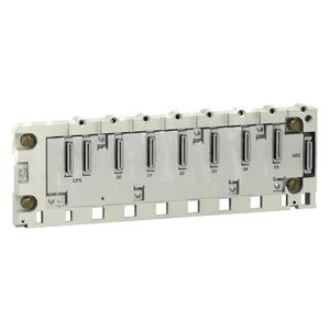 Modulträger M340, robust, 6 Steckpl., Bef. Montage-, Schlitzpl., DIN-Profilsch.