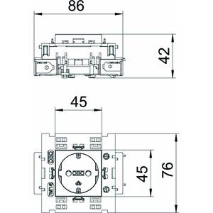 STD-D0C8 ROR1, Steckdose 0°, 1-fach Schutzkontakt, Connect 80 250V, 10/16A, PC, reinorange, RAL 2004