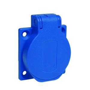 Schukosteckdose, blau, 2p+E, 10/16A, 250 V, für DE, IP54, 50x50mm