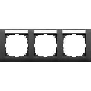 M-Pure-Rahmen, 3f.m. Beschriftungsträger, waagerechte Montage, anthrazit, M-Pure