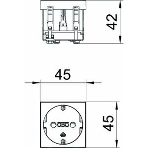 STD-D0 RW1, Steckdose 0°, 1-fach Schutzkontakt 250V, 10/16A, PC, reinweiß, RAL 9010