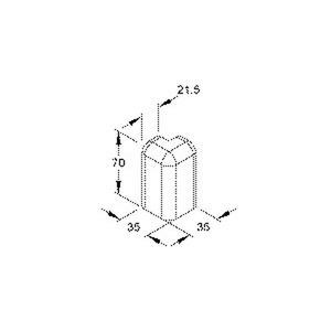 SFA70.6, Außeneck 90°, 70x21,5 mm, Kunststoff ASA, RAL 9001, cremeweiß