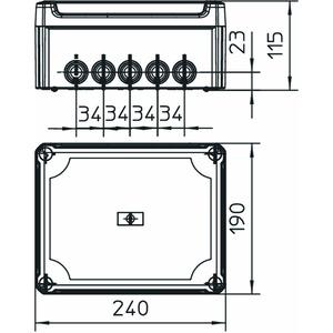T 250 HD TR, Kabelabzweigkasten mit hohem transparentem Deckel 240x190x115, PP/PC, lichtgrau, RAL 7035