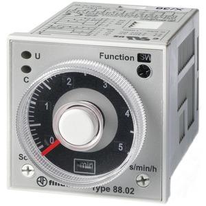 88.02.0.230.0002, Zeitrelais für Fronteinbau, 7 Zeitfunktionen bis 100 Std., 2 Wechsler 8 A, für 24 bis 230 V AC/DC