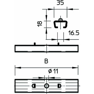 GMS 570 FS, Mittenabhängung für Gitterrinne,mit Klemmstück B570mm, St, FS