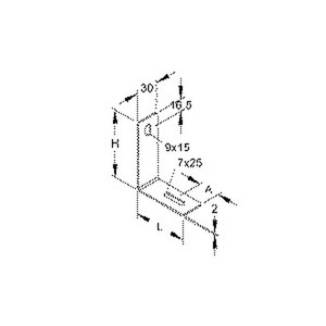 GRHW 30/60 E3, Gitterrinnen-Haltewinkel, Höhe 91,5 mm, Länge 71 mm, Edelstahl, Werkstoff-Nr.: 1.4301, 1.4303