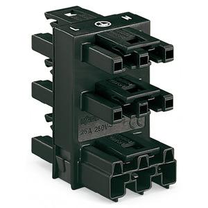 5-fach-Verteiler 3-polig Kodierung A 1 Eingang 5 Ausgänge schwarz