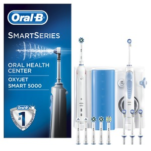 Center OxyJet, Oral-B Center OxyJet Reinigungssystem Munddusche + Oral-B SMART 5, weiss