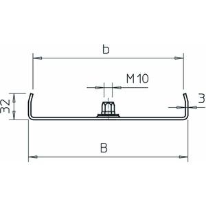 MAH 35 200 FS, Mittenabhängung für Kabelrinne B200mm, St, FS