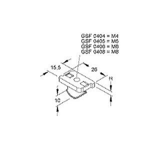 GSF 0404, Schräggleitmutter mit Klemmfeder, Gewinde M4, Höhe 3 mm, Stahl, galvanisch verzinkt DIN EN ISO 2081/4042, dickschichtpas