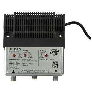 AL 332 G, Hausanschlussverstärker mit 65 MHz Rückweg, Vorweg bis 1006 MHz, Verstärkung Vorweg 33 dB, Ausgangspegel Vorweg 103 dBµV, Verstärkung Rückweg 26 dB, A