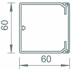 WDK60060GR, Wand- und Deckenkanal mit Bodenlochung 60x60x2000, PVC, steingrau, RAL 7030