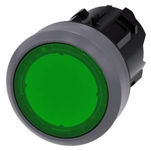 3SU1031-0AB40-0AA0, Drucktaster, beleuchtet, 22mm, rund, Metallfrontring, grün, Druckknopf