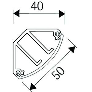 EDK50.3, Eckkanal, mit Deckel, 40x50x40x2000 mm, Kunststoff PVC-hart, RAL 9010, reinweiß
