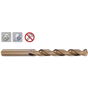 307 300 420, HSS-E Spiralbohrer DIN 338 Cobalt, geschliffen mit Kreuzanschliff mit Zylinderschaft, (1 Stück in SB-Tasche) 4,2 x 75 mm
