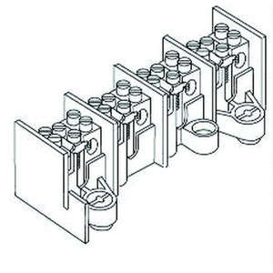 2645/5, Hauptleitungs-Abzweigklemme 25 mm², 39x51x151 mm, 5 Pole, Kunststoff PA, RAL 7035, lichtgrau