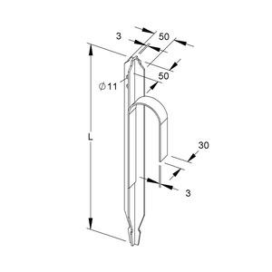 313/1F2, Staberder, Länge 1000 mm, Länge der Bandeisenfahne 2000 mm, Stahl, feuerverzinkt DIN EN ISO 1461