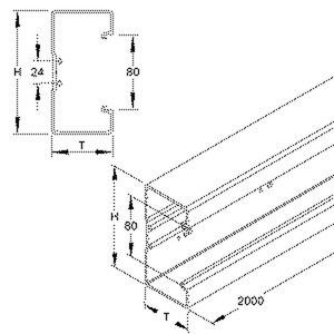 BU651308.6, Gerätekanalunterteil, 133x66x2000 mm, Kunststoff PVC-hart, RAL 9001, cremeweiß