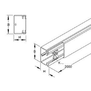 HKL4040.6, HKL-Elektroinstallationskanal, mit Bodenlochung, 38x40x2000 mm, Kunststoff PVC-hart, RAL 9001, cremeweiß