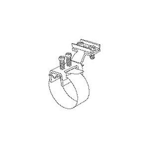 38/6, Erdungs-Bandschelle, längs, Bandlänge 586 mm, für Rohr-Ø 25-165 mm, Messing, vernickelt