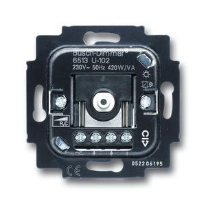 6513 U-102, Busch-Dimmer-Einsatz mit Phasenabschnitt und Netzfreischalterklemme 40-420W/VA