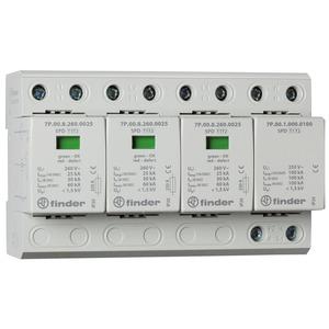 7P.04.8.260.1025, Überspannungsableiter Typ 1 und 2, Varistor + Funkenstrecke zwischen L1, L2, L3-N, Funkenstrecke N-PE, für 3-phasige TN-S und TT-Netze