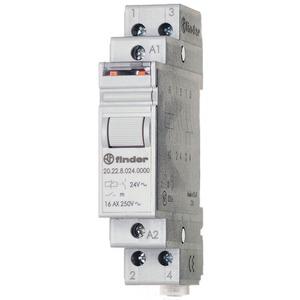 20.22.9.024.4000, Stromstoßschalter für Reiheneinbau, 2 Schließer 16 A, An An/Aus Aus, für 24 V DC