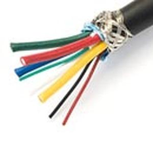 5 x Koax AWG 25/75 Ohm, 4 x Litze AWG 22, doppelt geschirmt (Geflecht und Aluminiumfolie), flammwidrige PVC Hülle, schwarz, Dämpfung (db/100 m) 100 MH