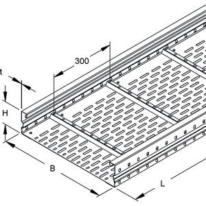 WRL 105.500 F, Weitspannkabelrinne, 105x500x6000 mm, t=1,5 mm, gelocht, Stahl, feuerverzinkt DIN EN ISO 1461, inkl. Zubehör