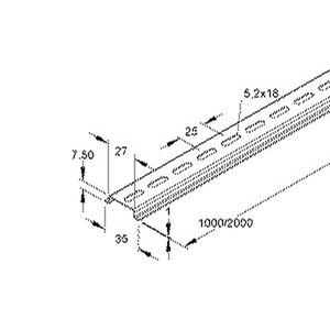 536LO/2, Tragschiene nach DIN EN 60715, 7,5x35x2000 mm, gelocht, Stahl, bandverzinkt DIN EN 10346