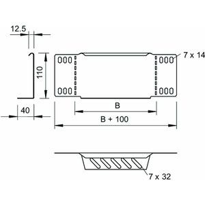 RWEB 130 DD, Reduzierwinkel/ Endabschluss für Kabelrinne 110x300, St, DD