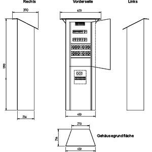 ES 2/8/8 ZST, Camping-Stromverteiler-Säule aus verzi