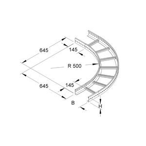 KLBK 60.403 E3, Bogen 90° für KL, klein, 60x400 mm, mit gelochten Seitenholmen, Edelstahl, Werkstoff-Nr.: 1.4301, 1.4303
