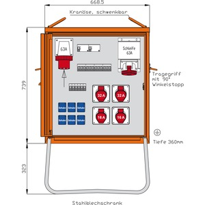Endverteiler aus Stahlblech 44kVA mit CEE-Zugang 63A, 2 RCDs TypA,10 LS,  5 CEE-Abgängen 16-63A und 6 Schukos-WEV0801