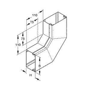 LUWD 100.100 E3, Vertikaleck 2x45° mit Deckel, 100x100 mm, ohne Bodenlochung, Edelstahl, Werkstoff-Nr.: 1.4301, 1.4303