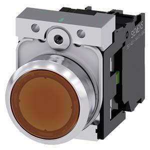 3SU1152-0AB00-1BA0, Drucktaster, beleuchtet, 22mm, rund, Metall, hochglanz, amber, Druckknopf, 1S