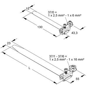 37/0, Erdungs-Bandschelle, längs/ quer, Bandlänge 130mm, für Rohr-Ø 8-17,5mm, Messing, vernickelt