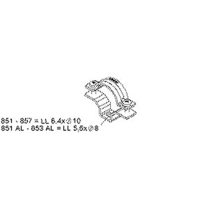 855, Rohr- und Kabelabstandschelle, Kabel-Ø 38-47 mm, Befestigungslangloch, Stahl, bandverzinkt DIN EN 10346