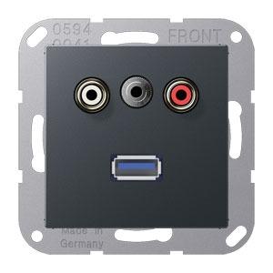 MA A 1092 ANM, Cinch Audio, Miniklinke3,5mm und USB, Tragring, Schraubbefestigung, bruchsicher