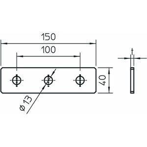 GMS 3 VP A2, Verbindungsplatte mit 3 Löchern 150x40x4, V2A, A2