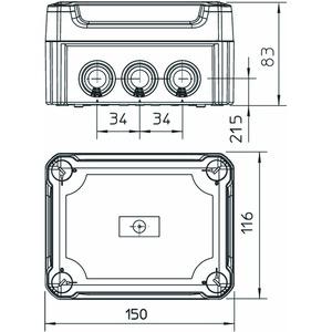 T 100 HD TR, Kabelabzweigkasten mit hohem transparentem Deckel 150x116x83, PP/PC, lichtgrau, RAL 7035
