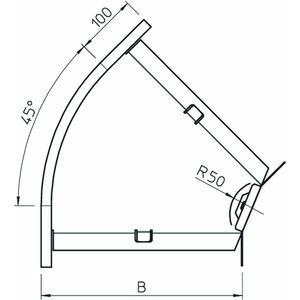 RB 45 130 FT, Bogen 45° horizontal,mit Winkelverbinder 110x300, St, FT