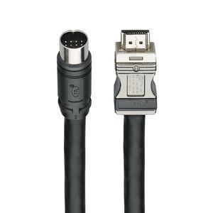 AK ES HDMI 19,7 m, HDMI-Endgeräte-Anschlusskabel, flexibles Einzugkabel, 19,7 m, mit Stecker und Rundsteckverbinder (Ø 17 mm), schwarz