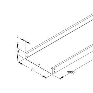 RSUS 60.400 OV, Kabelrinne schwer, 60x400x3000 mm, t=2,0 mm, ungelocht, Stahl, bandverzinkt DIN EN 10346, ohne Verbinder
