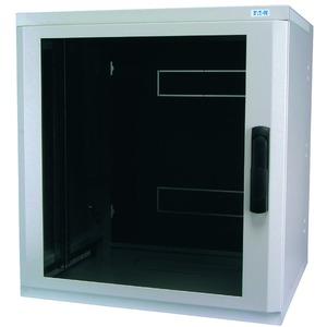 NWE-6B18/GL/SH, Wandgehäuse, 19 Zoll, 3-teilig, T=600mm, HE18, Tür, Glas, +Schwenkhebel