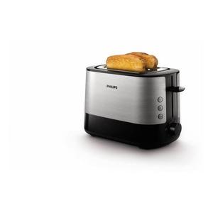 HD2637/90, Toaster, 1000W, inkl. Brötchenaufsatz, breiter Toastschlitz, 3 Funktionen: Toasten, Auftauen und Stopp, 7 Bräunungsstufen, Krümelschublade, Edelstahl/Schwarz